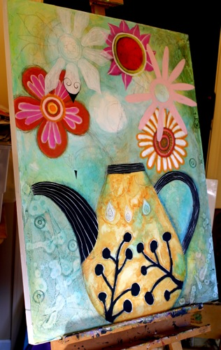 Teapot Flower Painting
