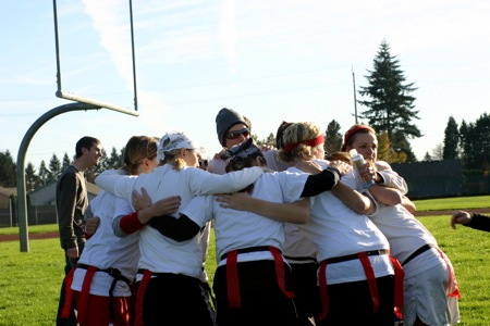 Girls Football Huddle