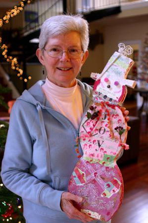 Handmade pink snowman-