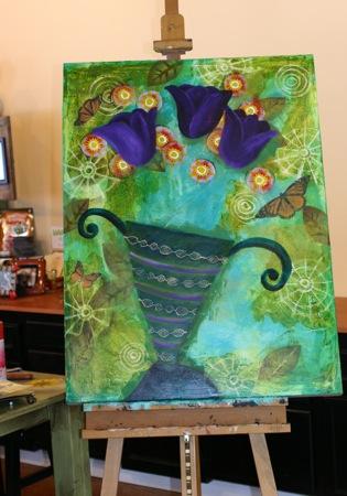 Purple Tulip Painting in process