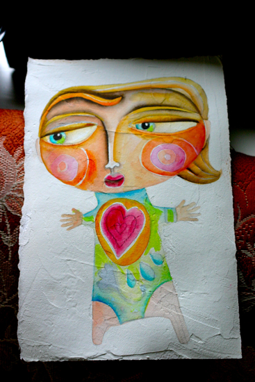 Whimsical girl painting