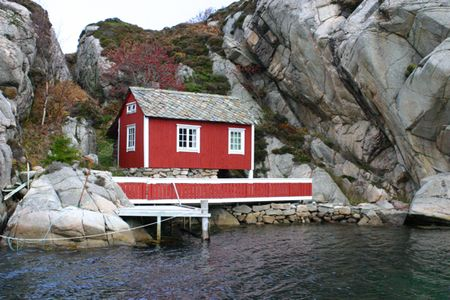 Cute red boat house