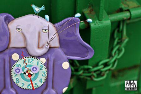 Allen designs purple elephant clock