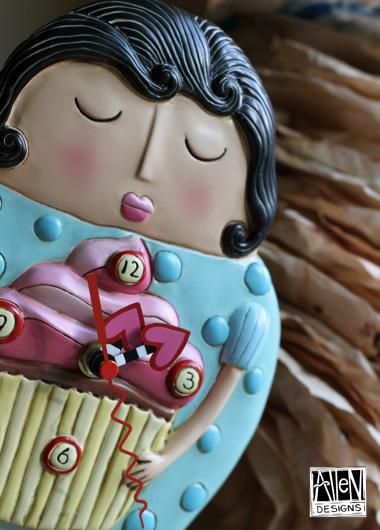 Cupcake girl clock
