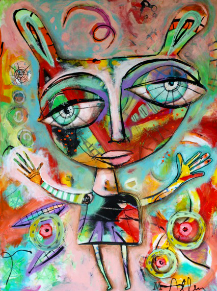 Bunny girl abstract original painting