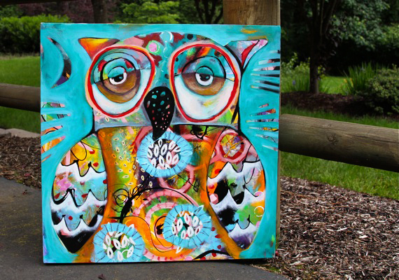 Whimsical owl art