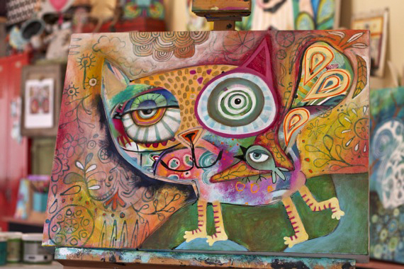 Funky cat painting