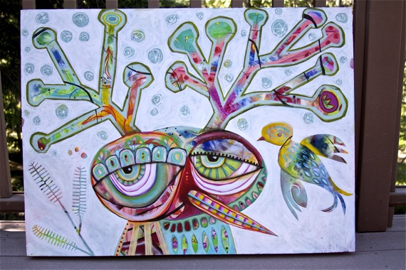 Original bird deer painting