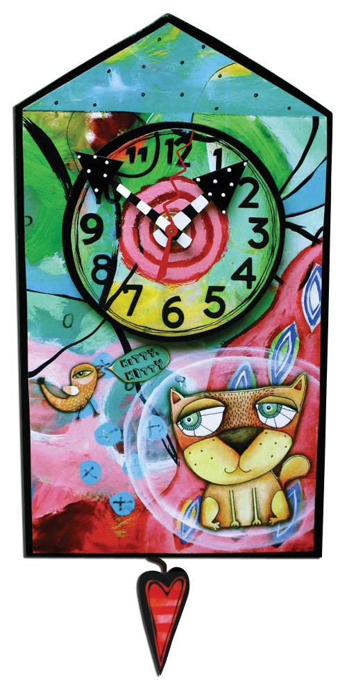 whimsical house clock kitty