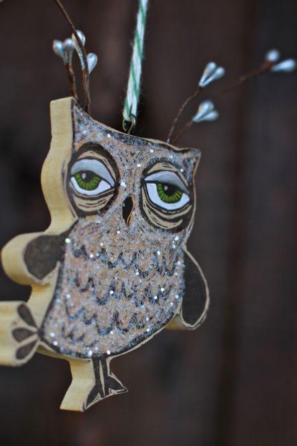 Handmade owl ornament
