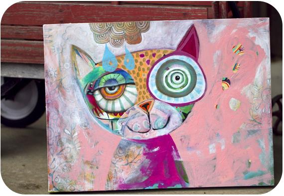 Raining cat painting