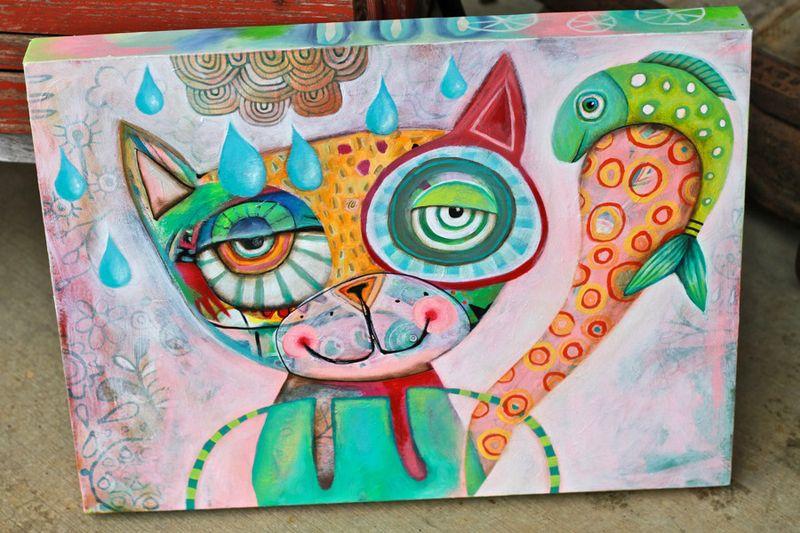 Whimsical cat art