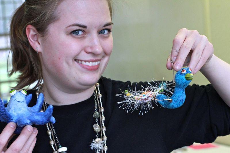 Octupus and bird ornaments