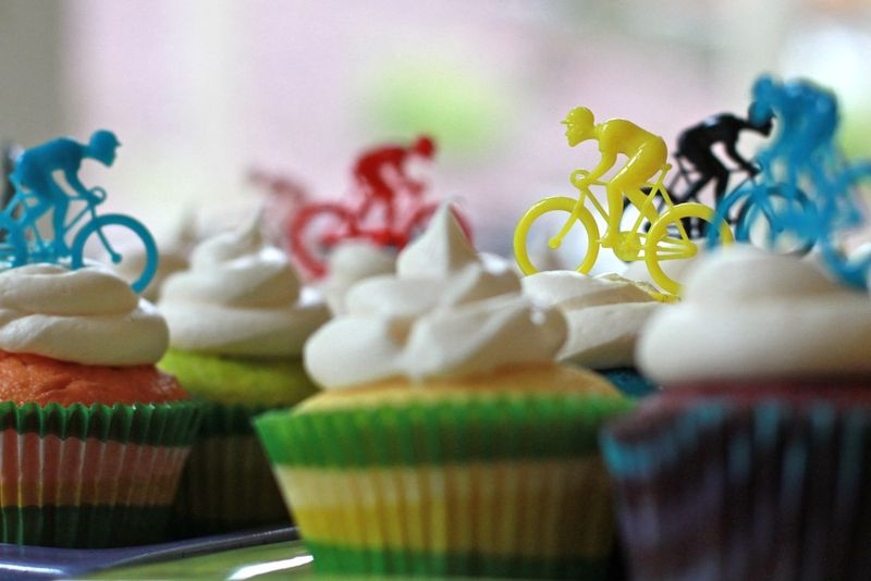 Rainbow bicycle cupcakes