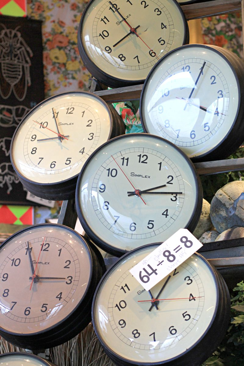 Clock display vintage schoolhouse time