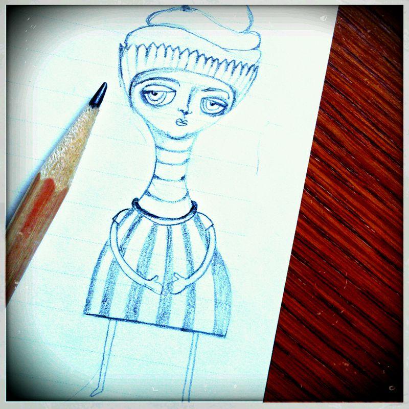 Cupcake girl sketch