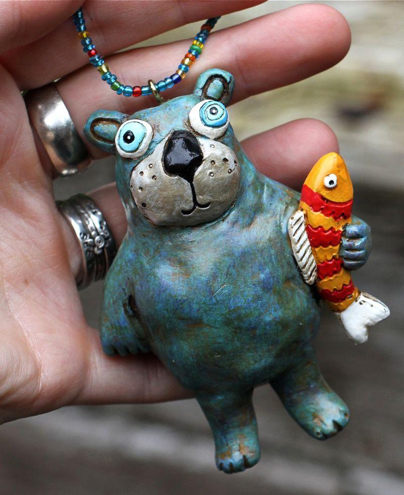 Bear fish ornament