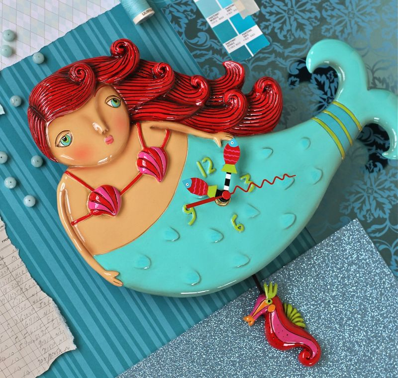 Whimsical colorful mermaid clock