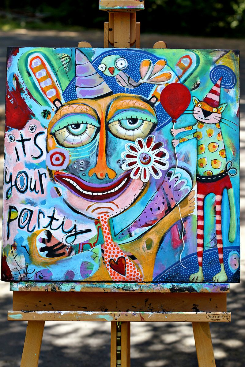 Colorful original art party