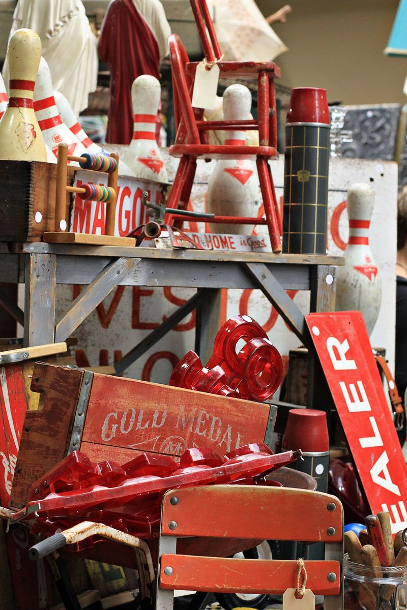 Red display vintage flea market