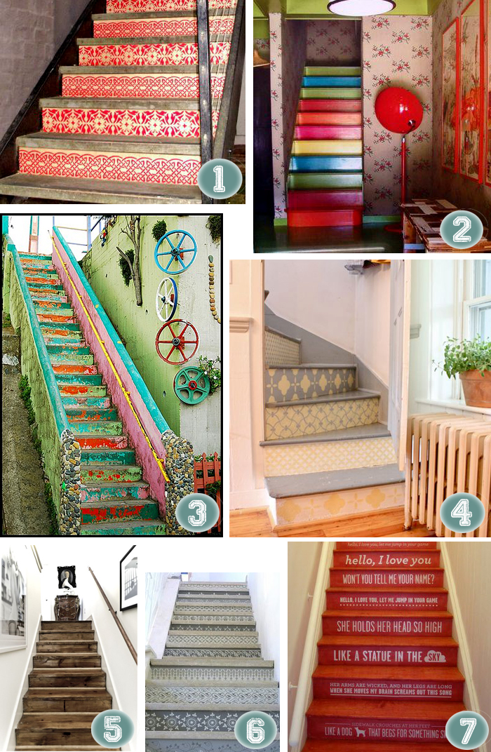 Painted stairs stenciled unique