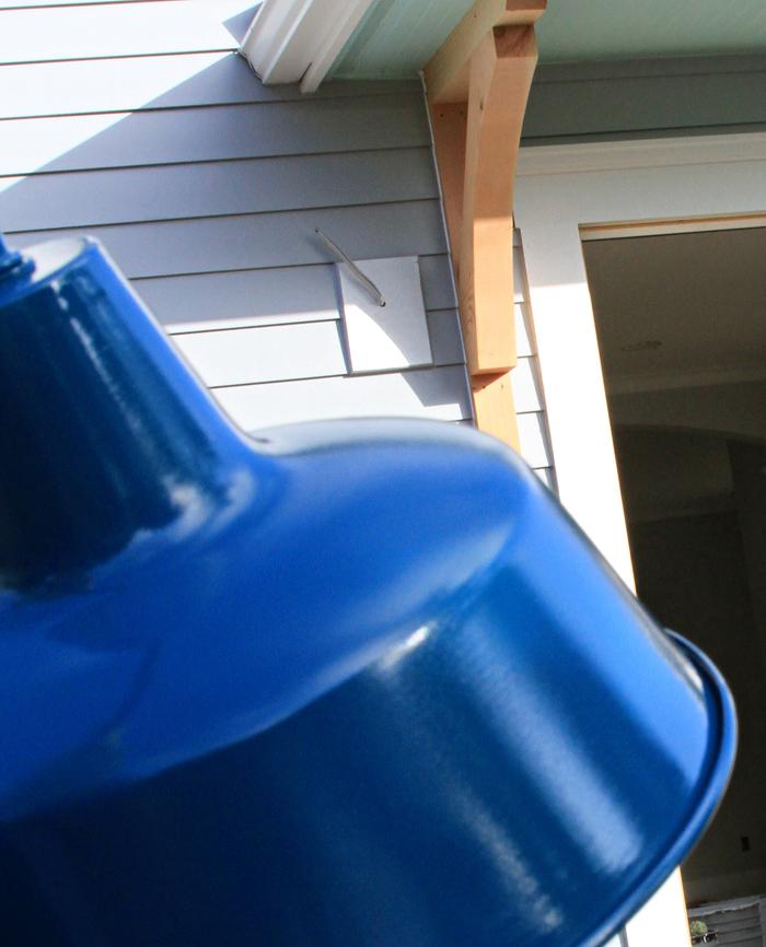 Light fixture blue house remodel