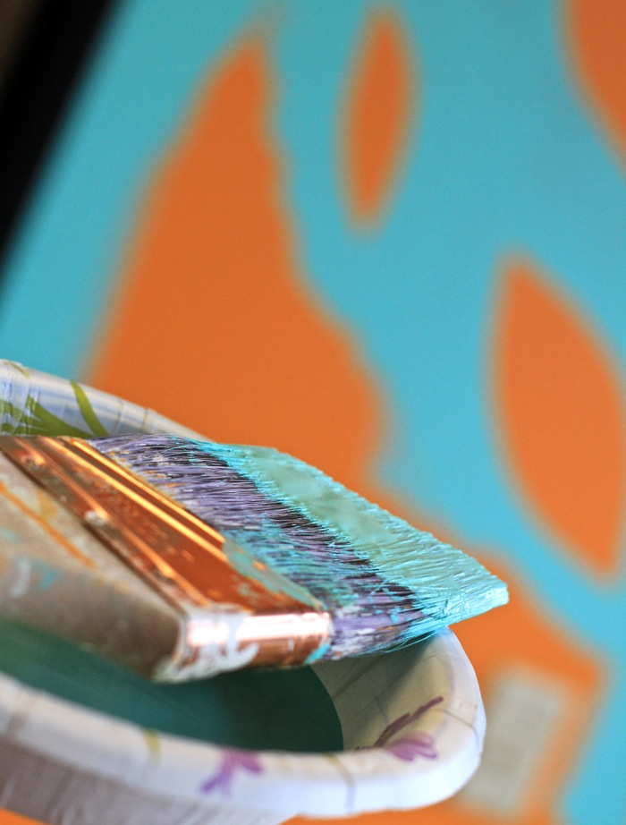 Painting wall aqua and orange
