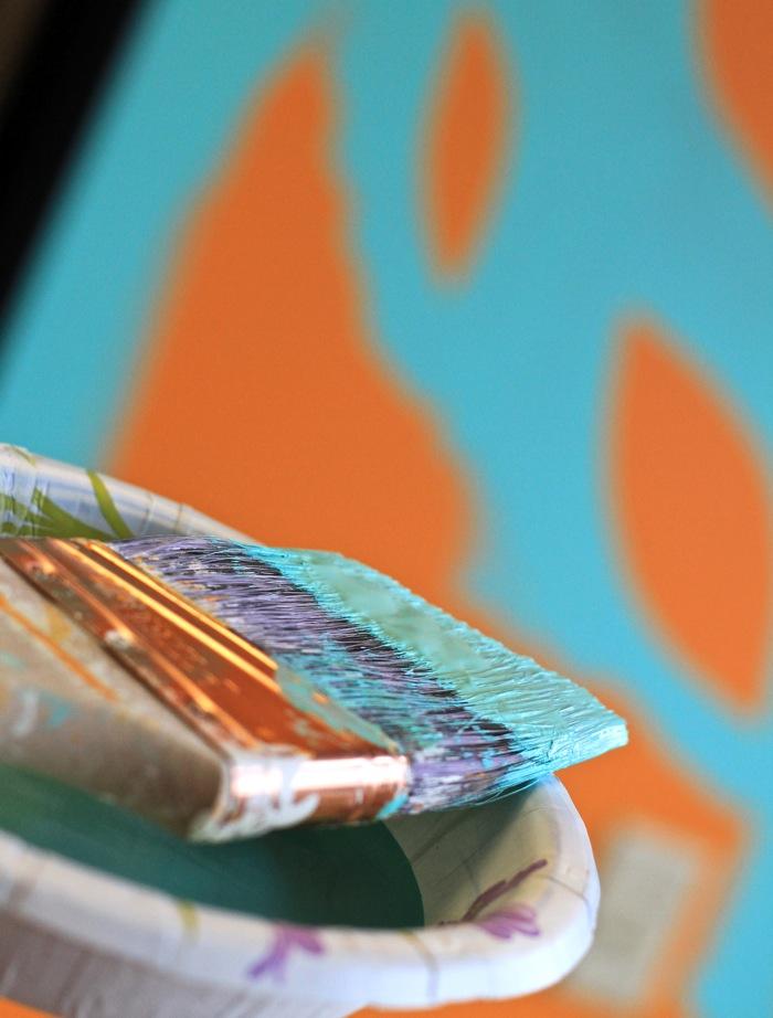 Painting wall aqua and orange