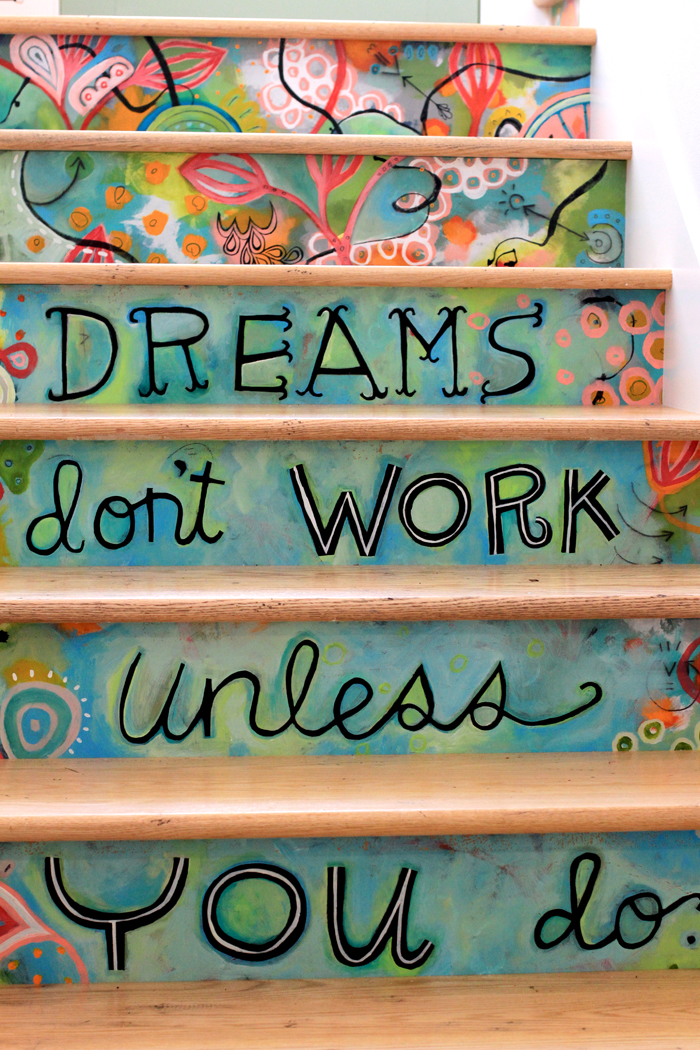 Creative colorful hand painted stairs