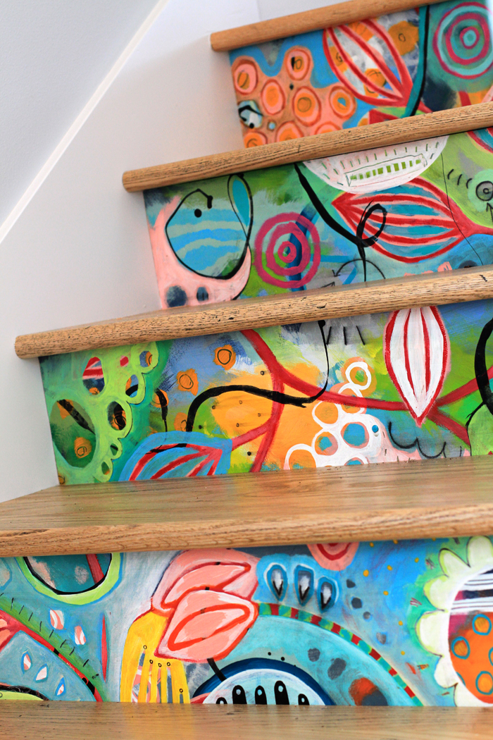 Creative colorful artist painted stairs
