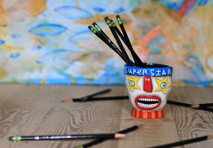 Superstar pencil cup functional art