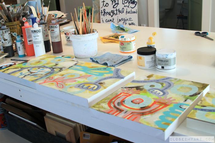 Artist painting progress allen designs