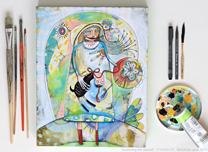 Original painting funky weird art colorful michelle allen