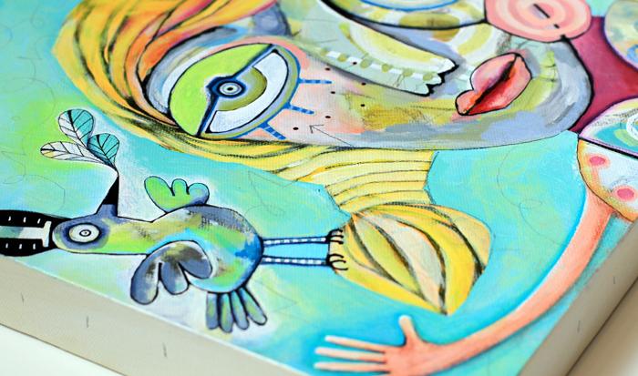 Bird and girl painting allen designs