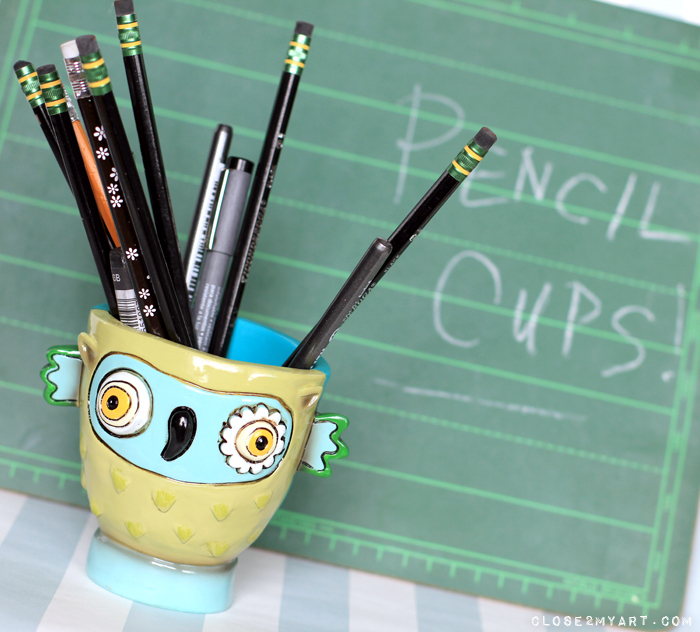 Pencil cups whimsical colorful teacher gift