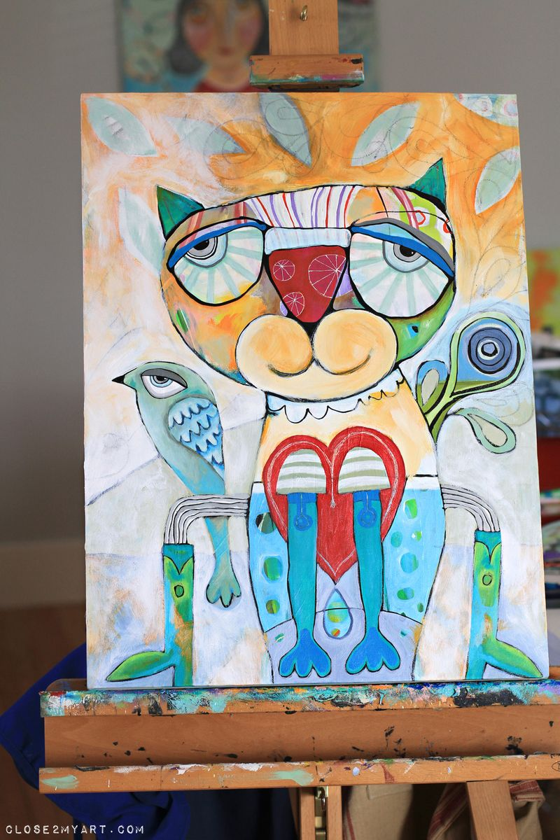 Cat bird painting michelle allen artist