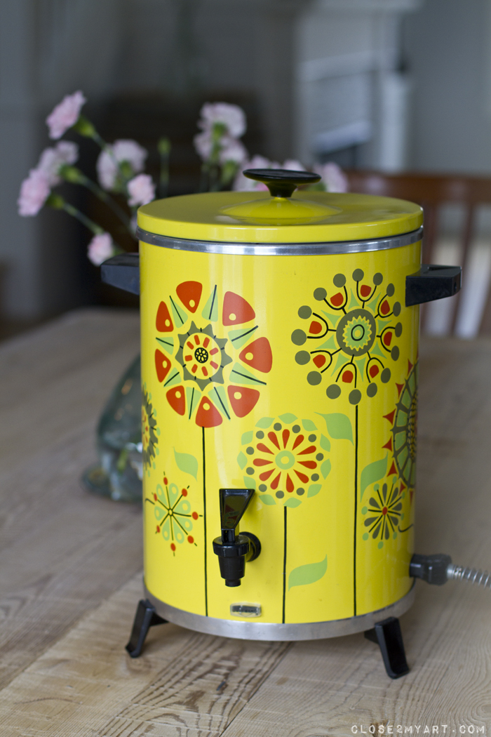 Yellow flower retro vintage coffeepot