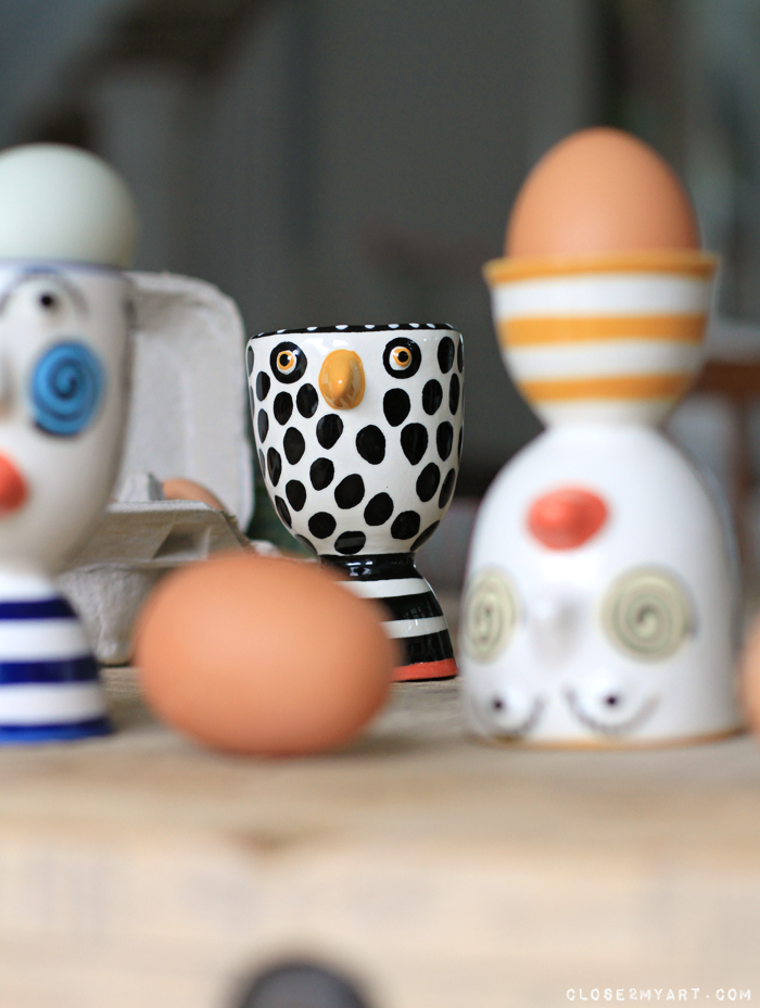 Egg cups artist chicken funky cool