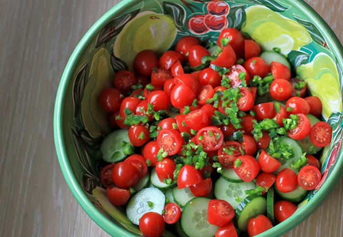 Tomato cucumber jalepeno simple salad