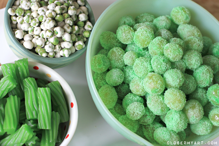 Sour grapes wasabi peas green candy