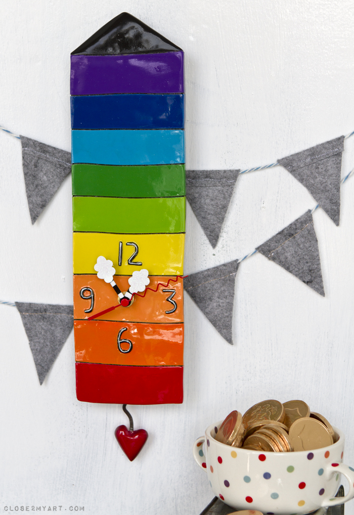 Rainbow house clock all the colors