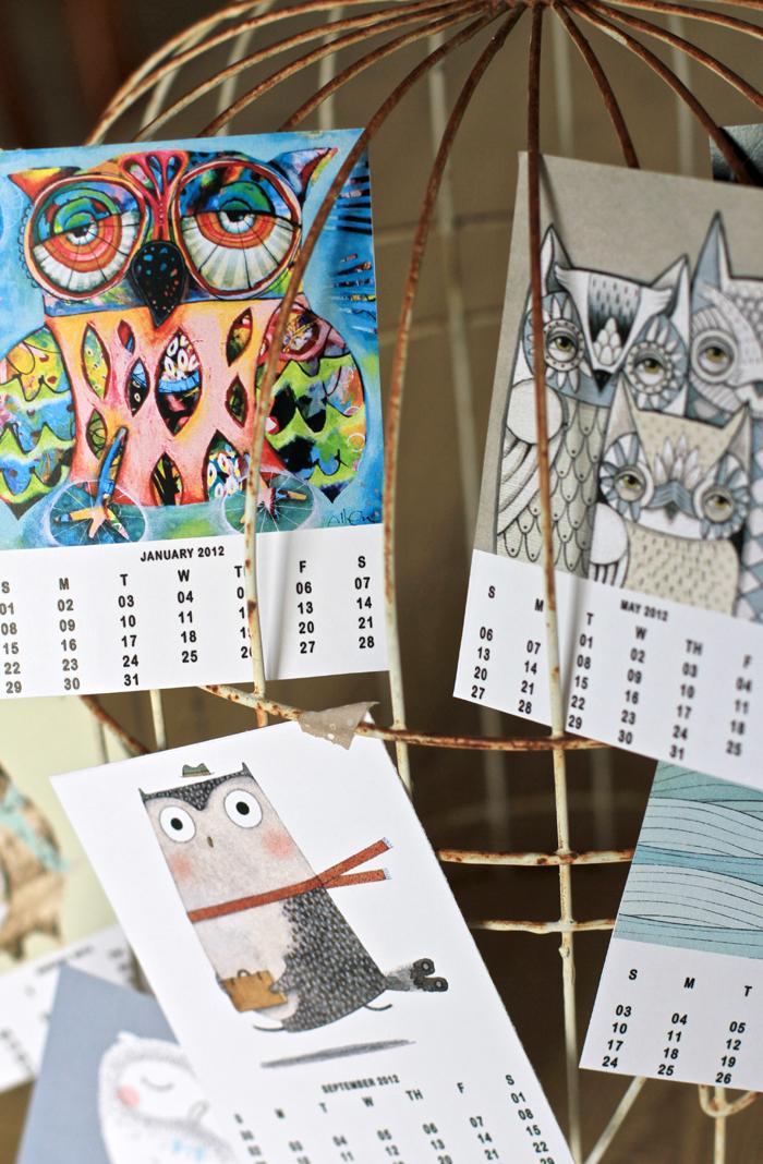 Free owl art calendar 2012