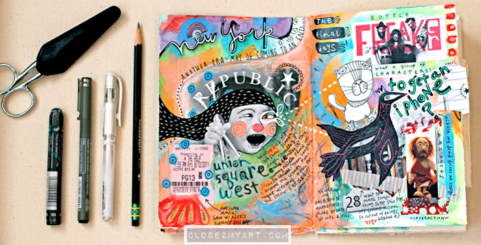 Visual journaling art journal artist doodles