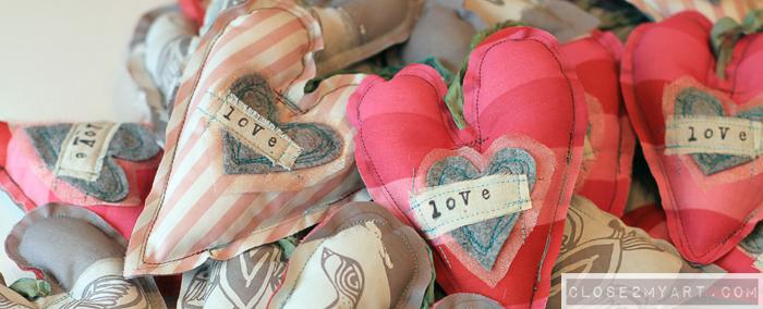 Handmade valentines art love stamp bird