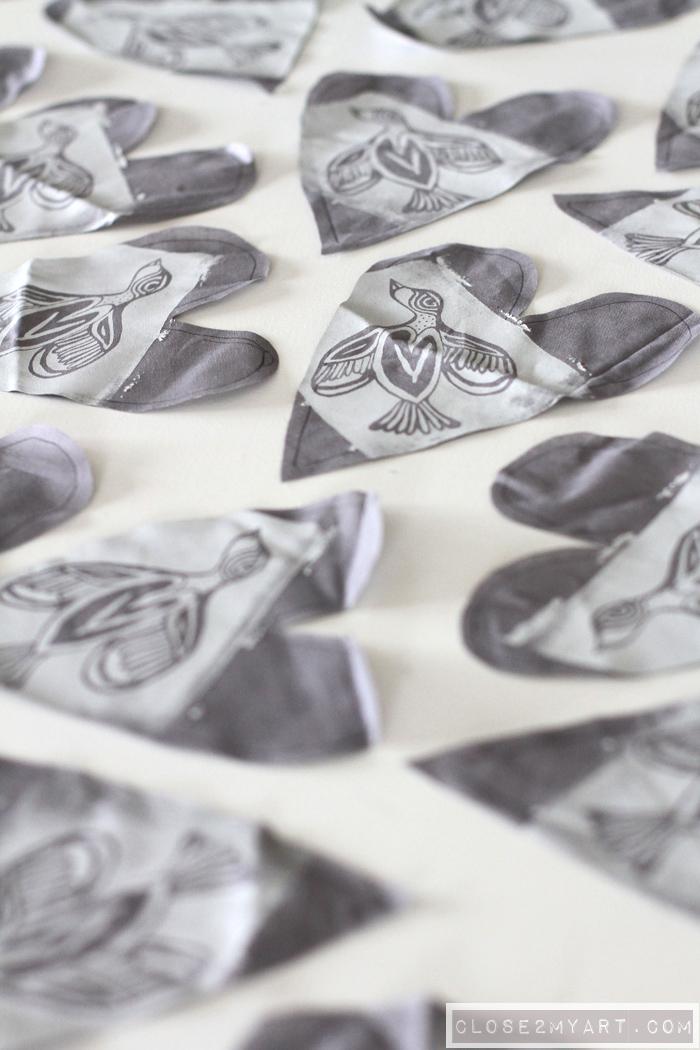 Allen designs creative art bird hearts