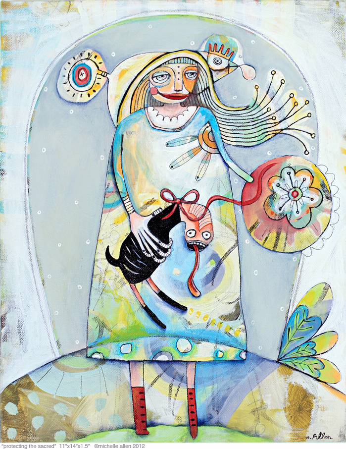 Protecting the sacred painting original art by michelle allen