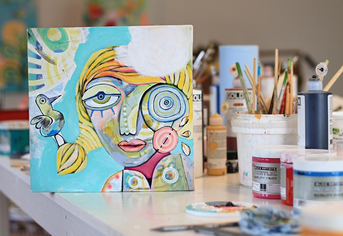 Girl bird painting colorful art michelle allen