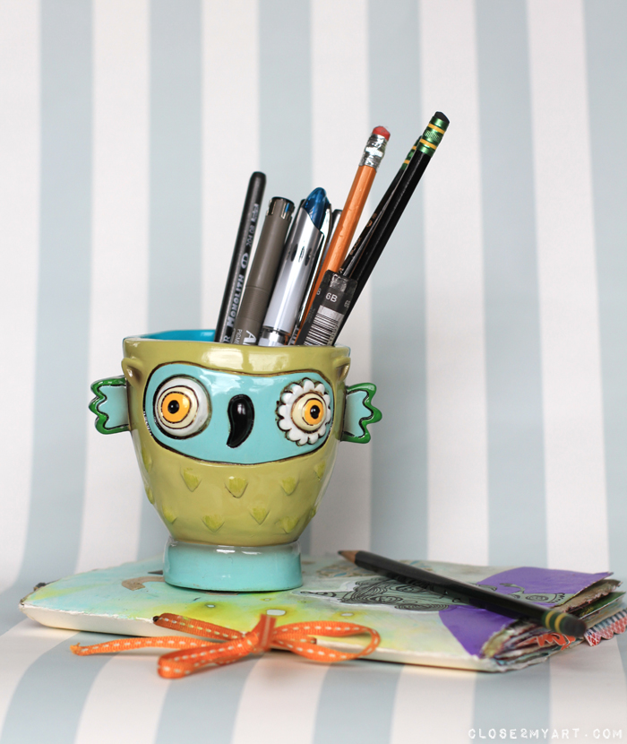 Owl pencil holder allen designs gift art