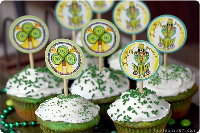 Green cupcakes lucky march irish