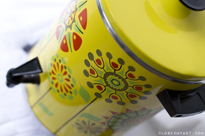 Retro vintage coffeepot yellow